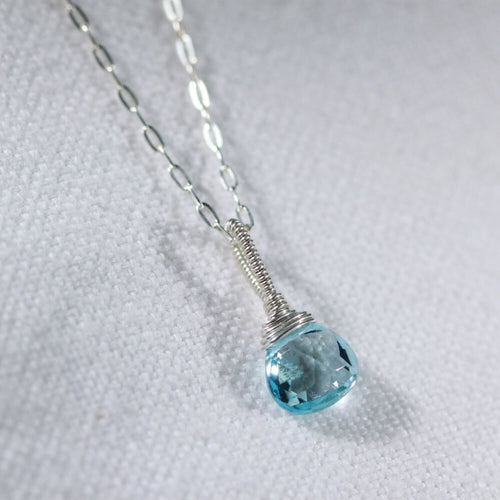 Swiss Blue Topaz Pair Briolette Pendant Necklace in sterling silver
