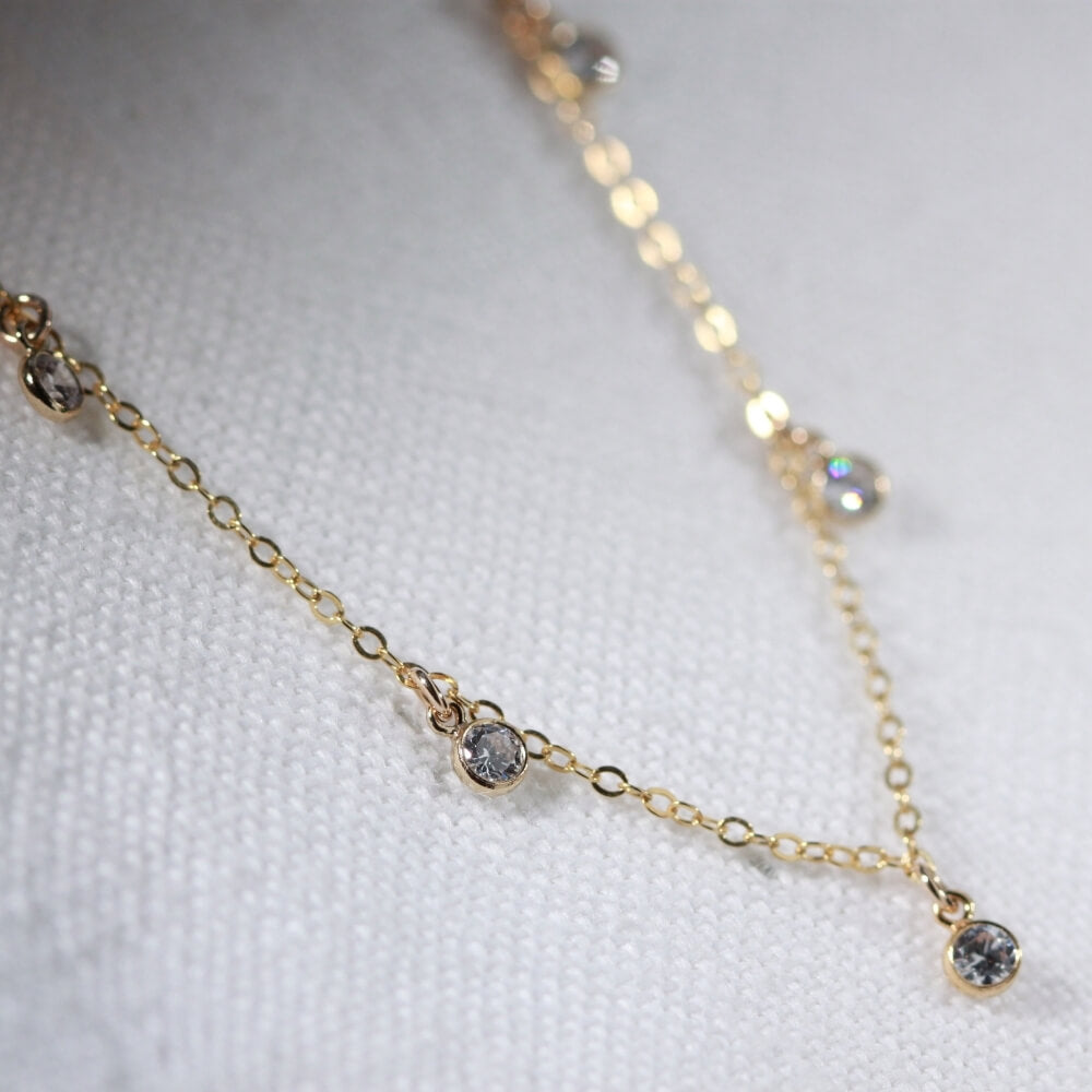 Cubic Zirconia Charm Necklace in 14 kt Gold-Filled
