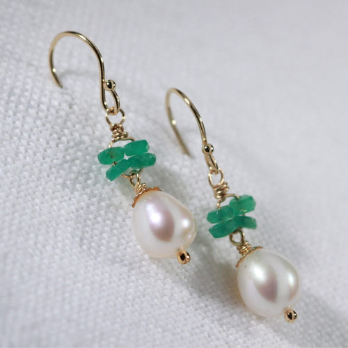 Emerald Gemstone and Pearl Dangle Earrings in 14kt gold filled