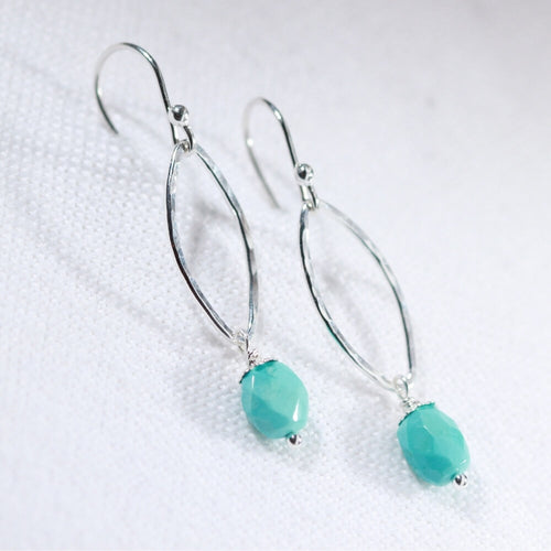 Sleeping Beauty Turquoise and Hammered marquise Hoop Earrings in sterling silver
