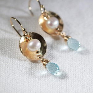 Blue Topaz , Pearl and Hammered Disc Earrings in 14 kt Gold Filled