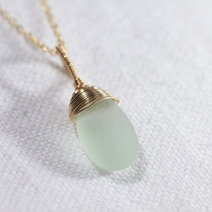 Sea foam green Sea Glass necklace hand wire wrapped in 14kt GF