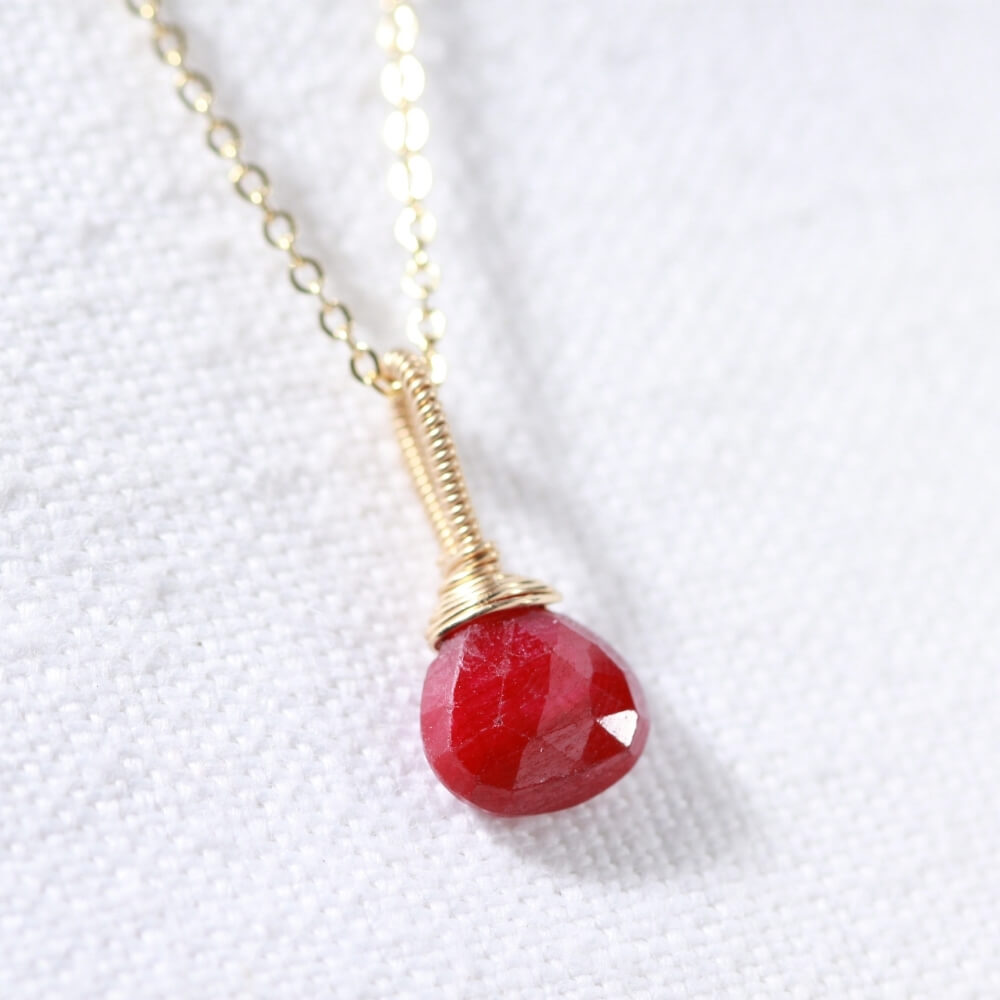 Ruby briolette gemstone pendant Necklace in 14 kt Gold-Filled