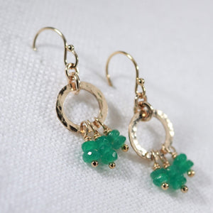 Emerald Gemstone and Hammered circle Earrings in 14 kt Gold Filled