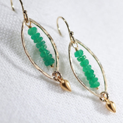 Emerald gemstone and Hammered marquise Hoop Earrings in 14 kt Gold Filled