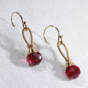 Tourmaline, pink briolette gemstone Earrings hand wrapped in 14 kt Gold Filled