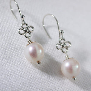 Pearl and flower charm sterling silver drop Earrings