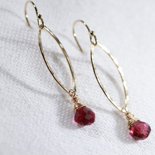 Tourmaline, Pink briolette gemstone and Hammered marquise Hoop Earrings in 14 kt Gold Filled