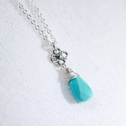 Sleeping Beauty Turquoise with sweet flower pendant in sterling silver