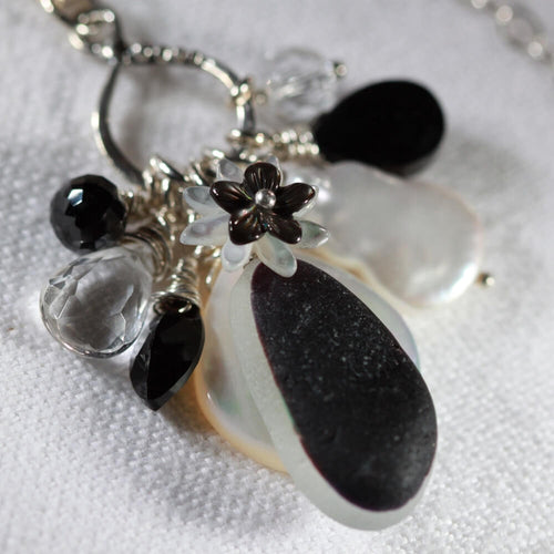 Amazing black and white Sea Glass Treasure Necklace