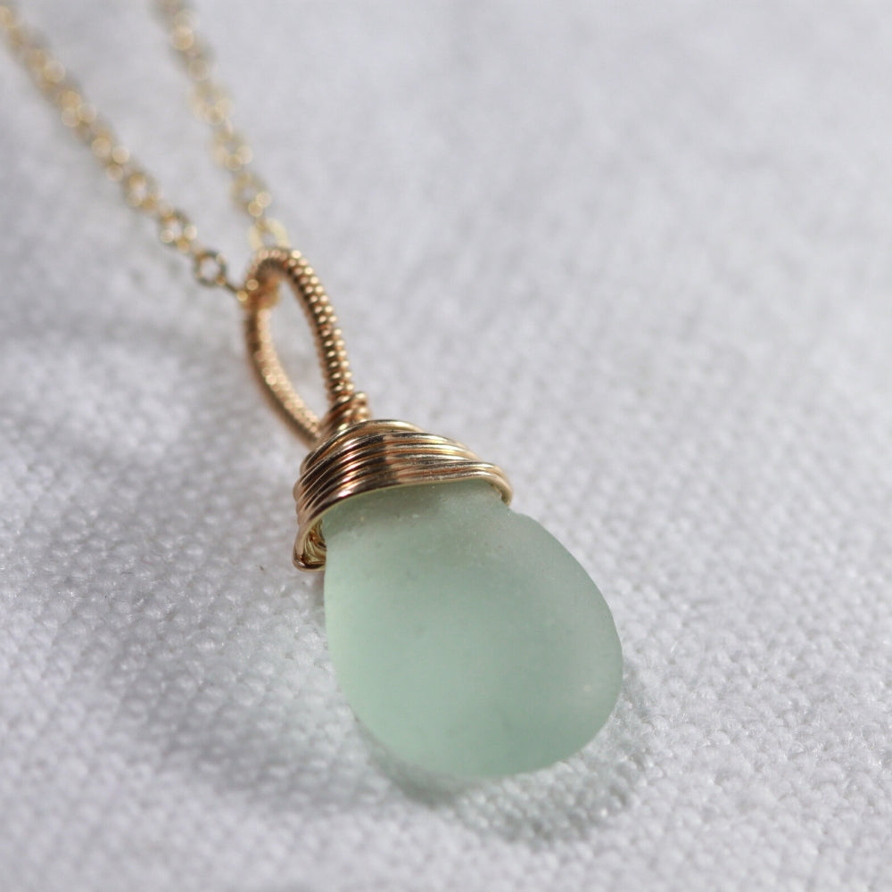 Sea foam ocean green Sea Glass necklace hand wire wrapped in 14kt GF
