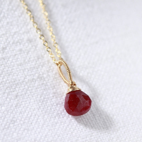Ruby gemstone pendant Necklace in 14 kt Gold-Filled