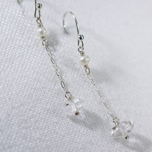 Herkimer Diamond and Chain Dangle Earrings in sterling silver