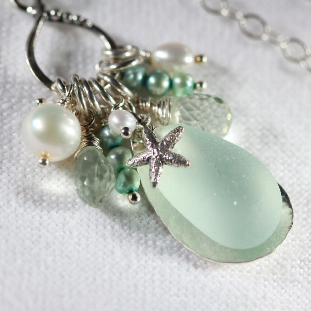 Sea Foam Green Sea one of a kind Glass Treasure Necklace