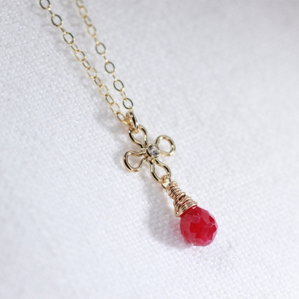 Ruby Briolette and flower with CZ Necklace in 14 kt Gold-Filled