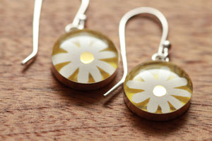 Daisy earrings made from recycled Starbucks gift cards, sterling silver and resin