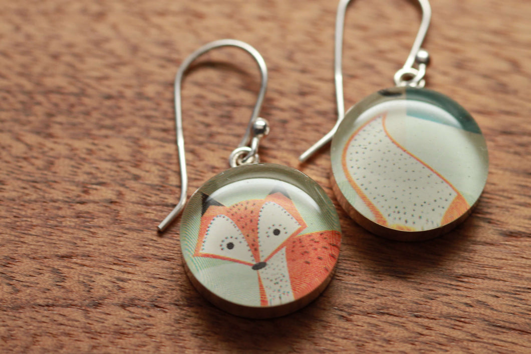 Foxy tail earrings made from recycled Starbucks gift cards, sterling silver and resin