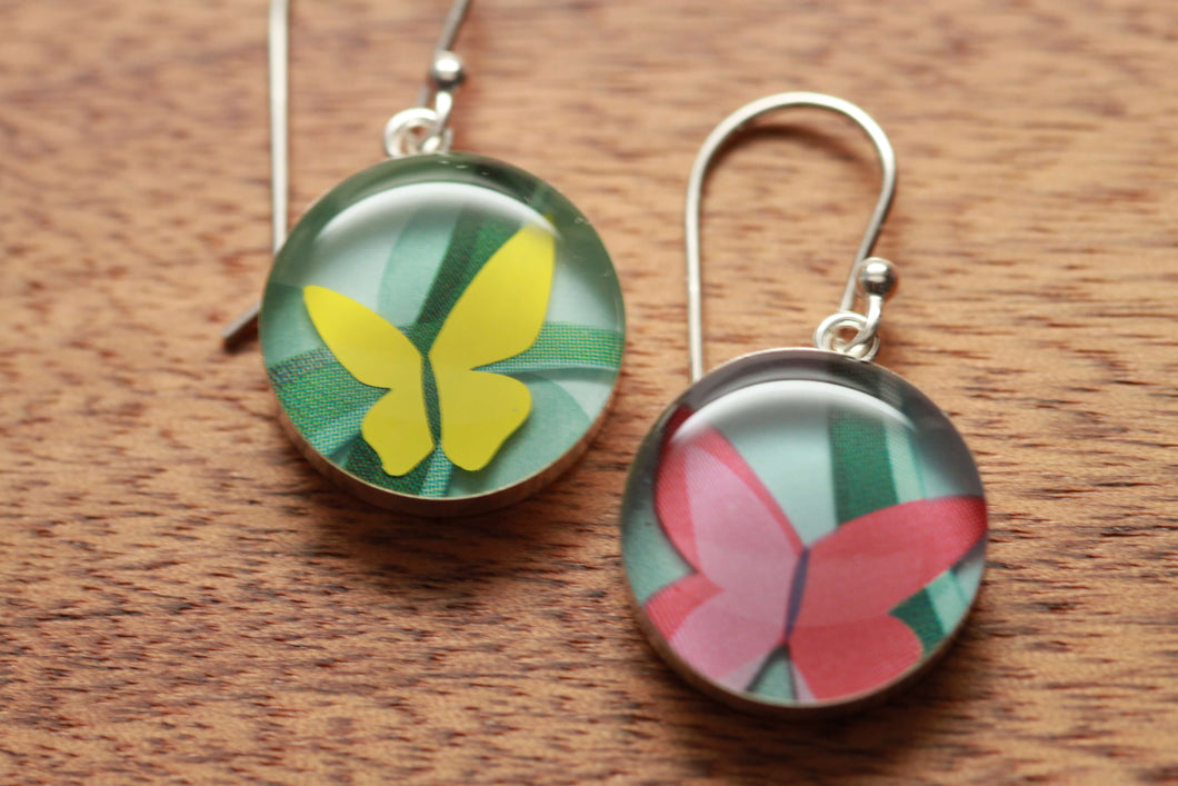 Butterfly earrings made from recycled Starbucks gift cards, sterling silver and resin