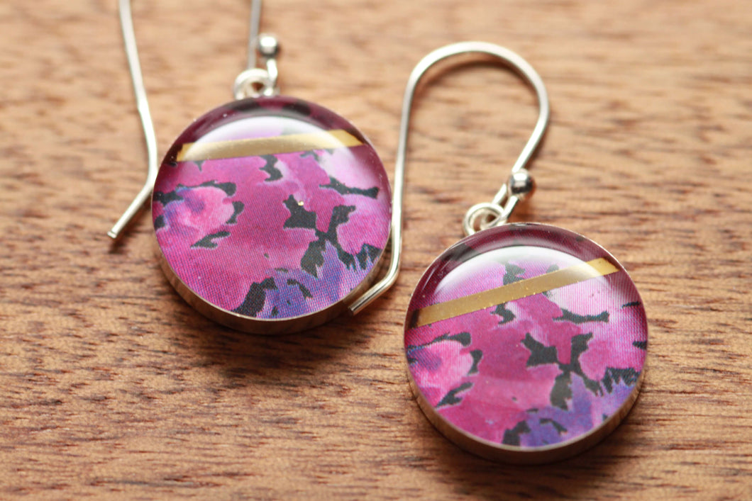 Purple flower earrings made from recycled Starbucks gift cards, sterling silver and resin