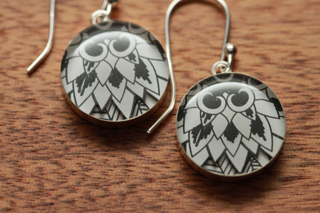Black and white Chrysanthemum earrings made from recycled Starbucks gift cards, sterling silver and resin