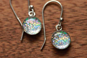 Tiny Rainbow Sparkle earrings made from recycled Starbucks gift cards, sterling silver and resin
