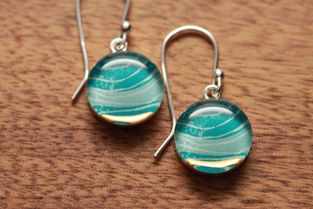 Floating at sea earrings 8mm made from recycled Starbucks gift cards, sterling silver and resin