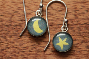 Tiny Glow in the Dark earrings made from recycled Starbucks gift cards, sterling silver and resin