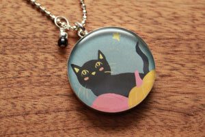 Black Cat and Pumpkin necklace made from recycled Starbucks gift cards, sterling silver and resin