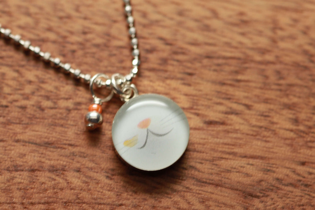 Kitty Nose Boop  necklace made from recycled Starbucks gift cards, sterling silver and resin