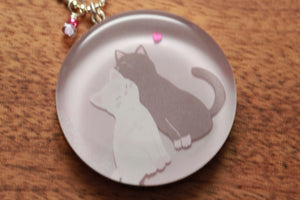Kitty Love necklace made from recycled Starbucks gift cards, sterling silver and resin