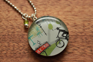 Bicycle in Paris necklace made from recycled Starbucks gift cards, sterling silver and resin