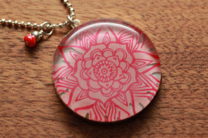 Salmon Flower Petal necklace made from recycled Starbucks gift cards, sterling silver and resin