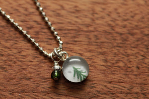 Tiny Tree necklace made from recycled Starbucks gift cards, sterling silver and resin