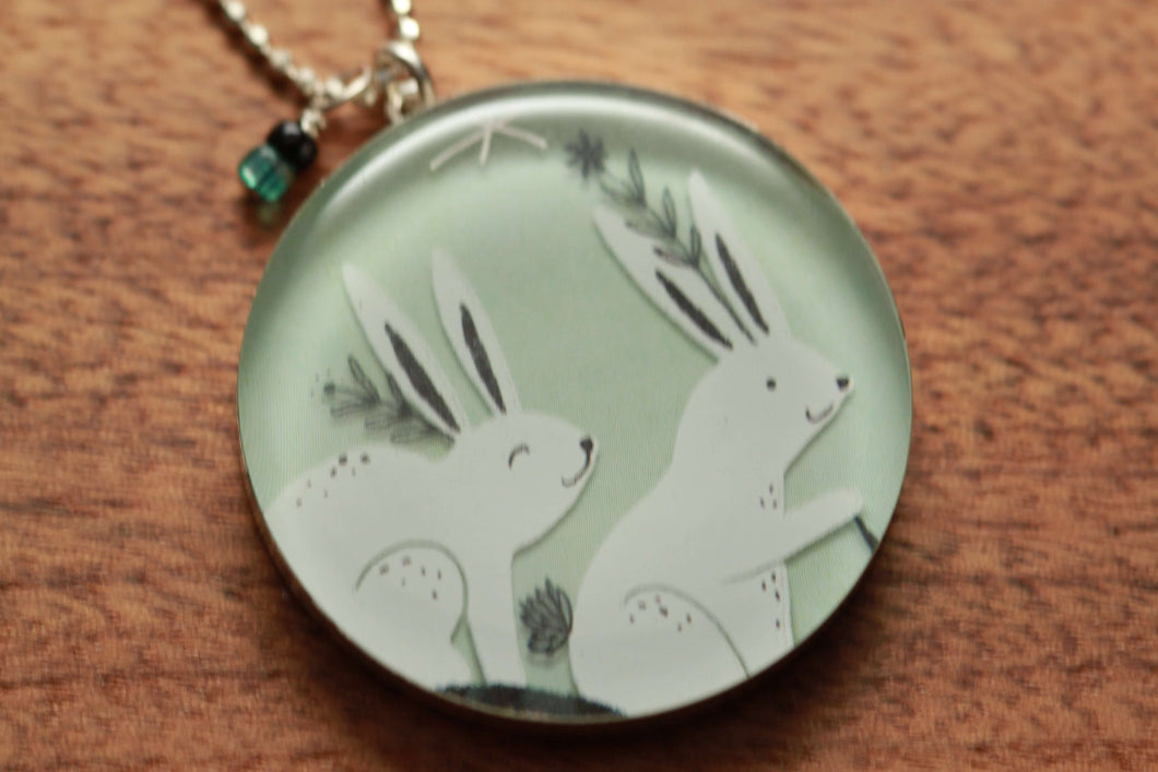 Bunny Rabbit necklace made from recycled Starbucks gift cards, sterling silver and resin