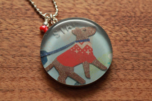 Winter Dog with darling red sweater necklace made from recycled Starbucks gift cards, sterling silver and resin