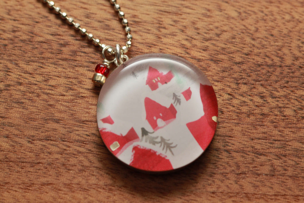 Little Red House necklace made from recycled Starbucks gift cards, sterling silver and resin