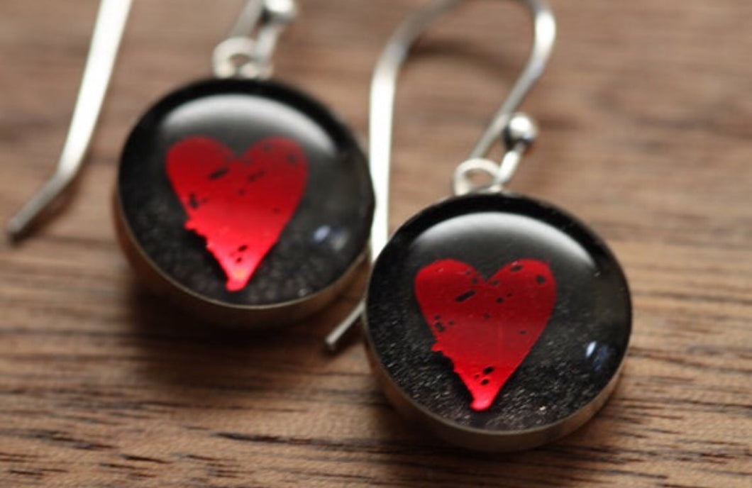 Red heart earrings made from recycled Starbucks gift cards, sterling silver and resin