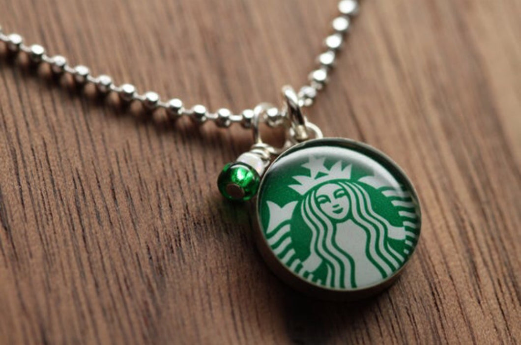 Starbucks Siren logo necklace made from recycled Starbucks gift cards, sterling silver and resin