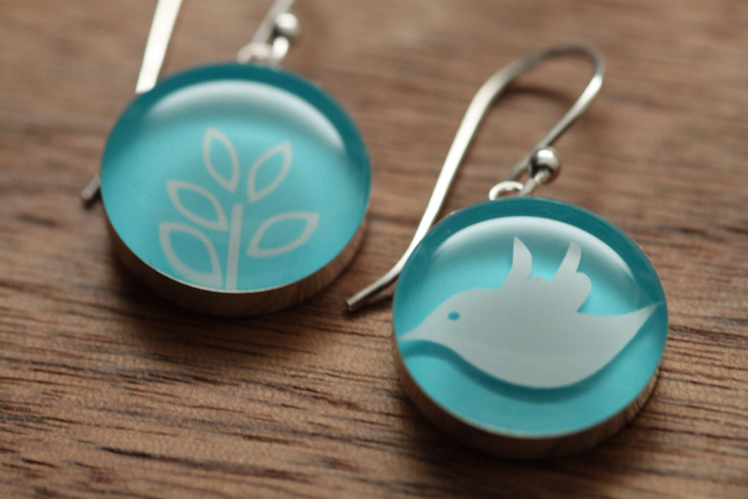 Swallow Song Earrings with sterling silver and resin. Made from recycled,upcycled gift cards.
