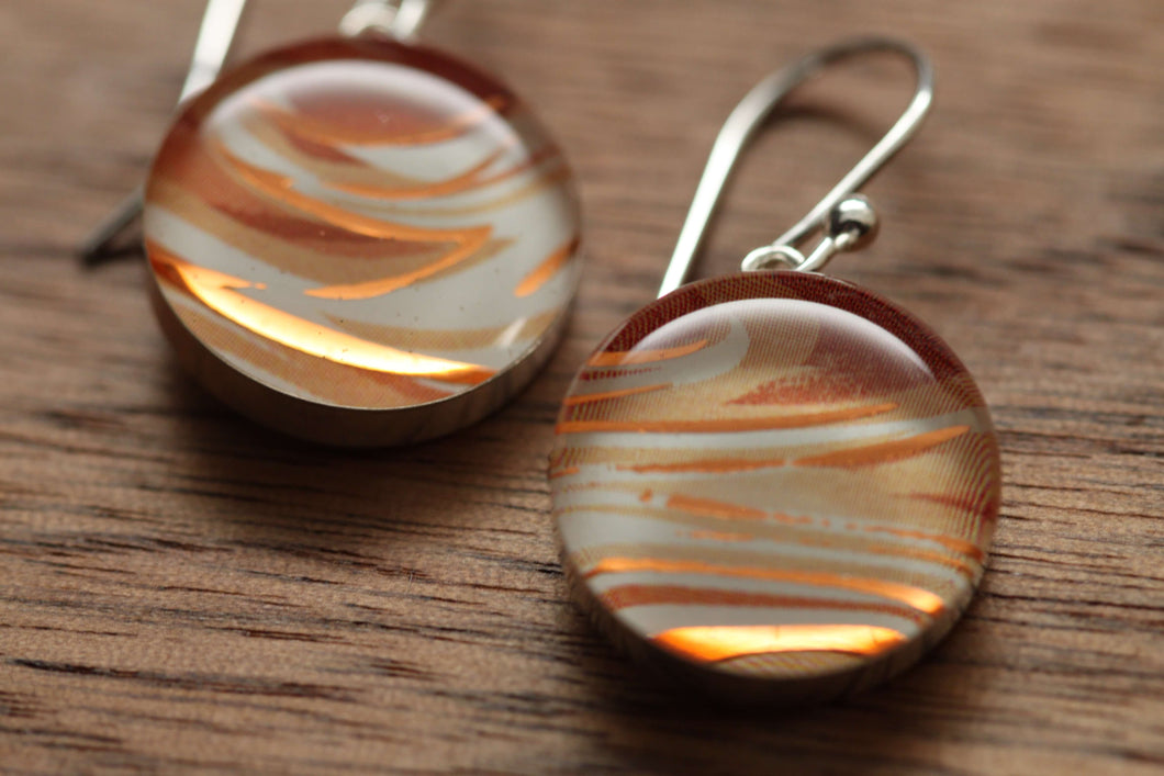 Latte swirl earrings made from recycled Starbucks gift cards, sterling silver and resin