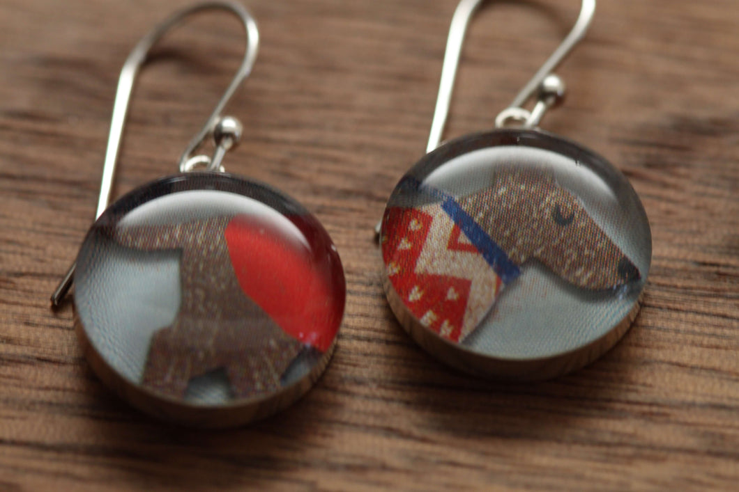 Winter Dog with darling red sweater earrings made from recycled Starbucks gift cards, sterling silver and resin