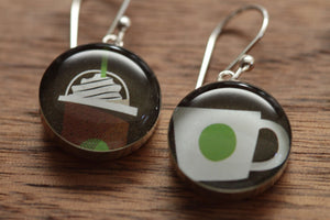 Starbucks cups earrings made from recycled Starbucks gift cards, sterling silver and resin