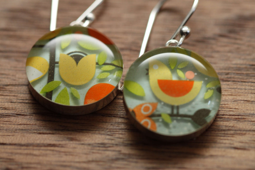 Bird and Flower earrings with sterling silver and resin. Made from recycled, upcycled gift cards