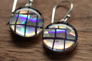 Sparkly Disco Ball earrings made from recycled Starbucks gift cards, sterling silver and resin