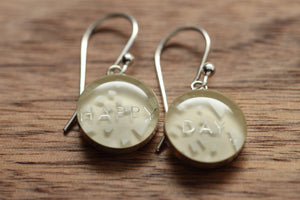 Oh Happy Day earrings made from recycled Starbucks gift cards, sterling silver and resin