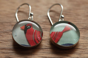 Cardinal earrings made from recycled Starbucks gift cards. sterling silver and resin