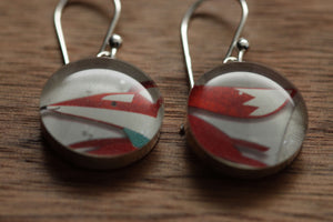 Running fox earrings made from recycled Starbucks gift cards, sterling silver and resin