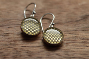 Golden polka dots earrings made from recycled Starbucks gift cards. sterling silver and resin