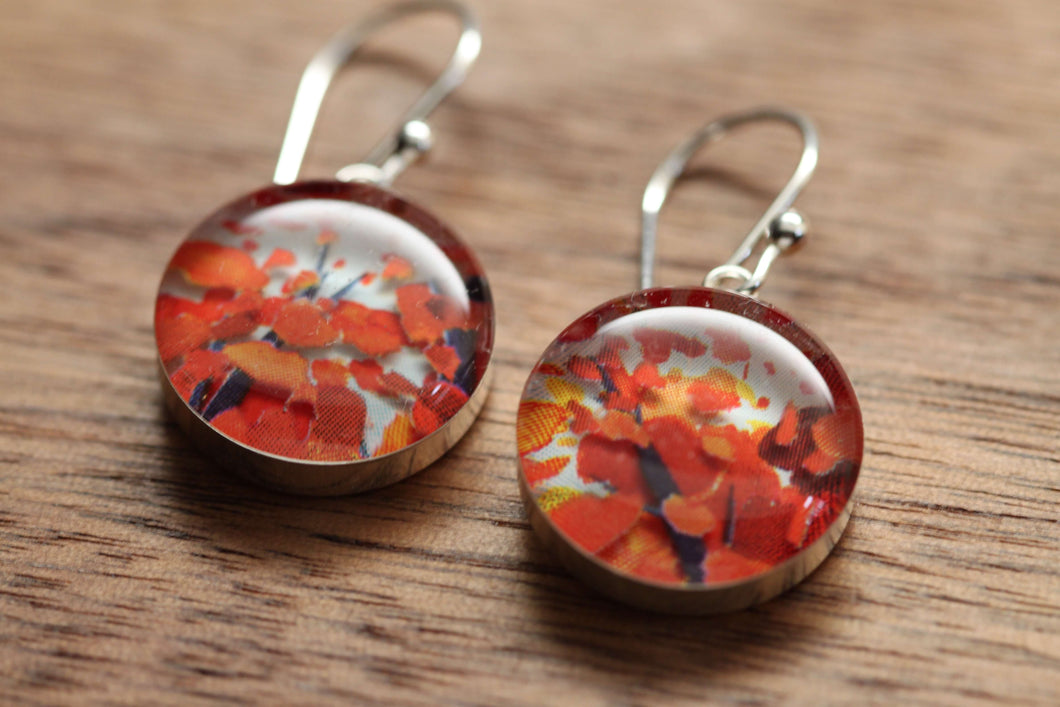 Fall leaves and October Dreams earrings made from recycled Starbucks gift cards. sterling silver and resin
