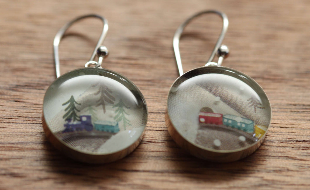 Winter train earrings made from recycled Starbucks gift cards, sterling silver and resin